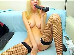 Teen Camgirl With Shaved Pussy Shoves Dildo in Her Asshole