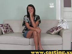 Older Brunette Laughs Before Swallowing Dick