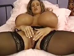 Hot Babe With Monster Fun Bags Plays With Her Moist Pussy