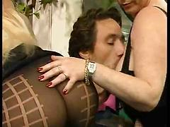 Lucky German Guy Gets His Big Cock Sucked By Two Matures