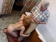 Woman With Hairy Pussy Blows Old Man And Then Gets Some
