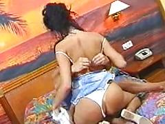 Skinny Babe Takes A Huge Cock In Her Mouth And Enjoys