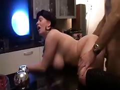 Big tit bbw takes load in her mouth