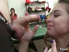 College blowjob in public recreation room
