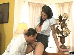 Super tall she-creature hooker called over to empty stud's man-meat
