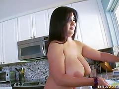 Chubby Latina slut with huge boobs gets a rod in her gaping pussy