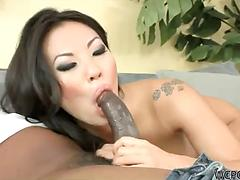 Petite Asian sweetheart Asa Akira gets her holes rammed by BBC