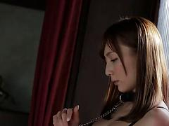 Playful Japanese bimbo gets tied and drilled till orgasm