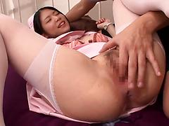 Japanese nurse in a uniform gets finger fucked and screwed in a hospital