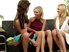 Three mischievous lesbian cuties go frisky and poke their holes